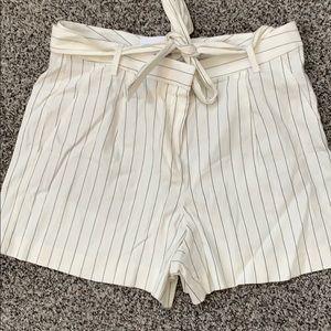 Loft pinstriped paper bag shorts